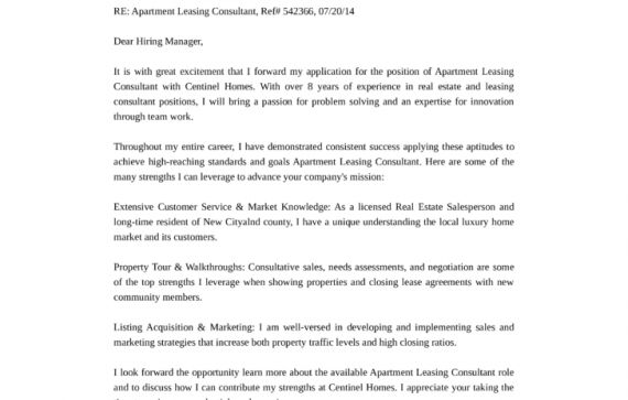 Apartment Leasing Agent Cover Letter