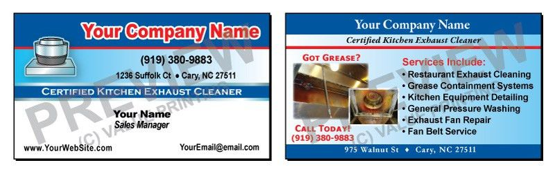 Full Color Kitchen Exhaust Cleaning Business Cards