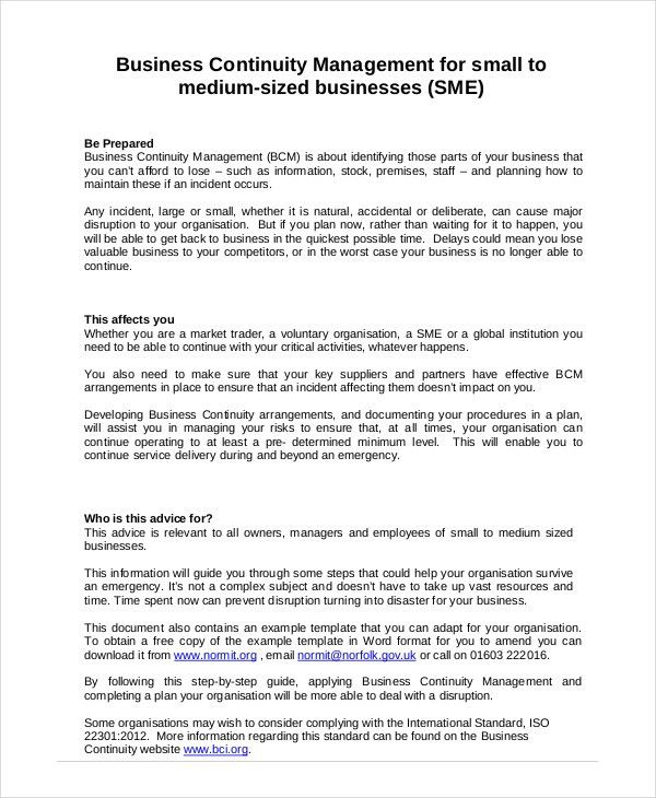 Business Continuity Plan - 9+ Free PDF, Word Download Document ...