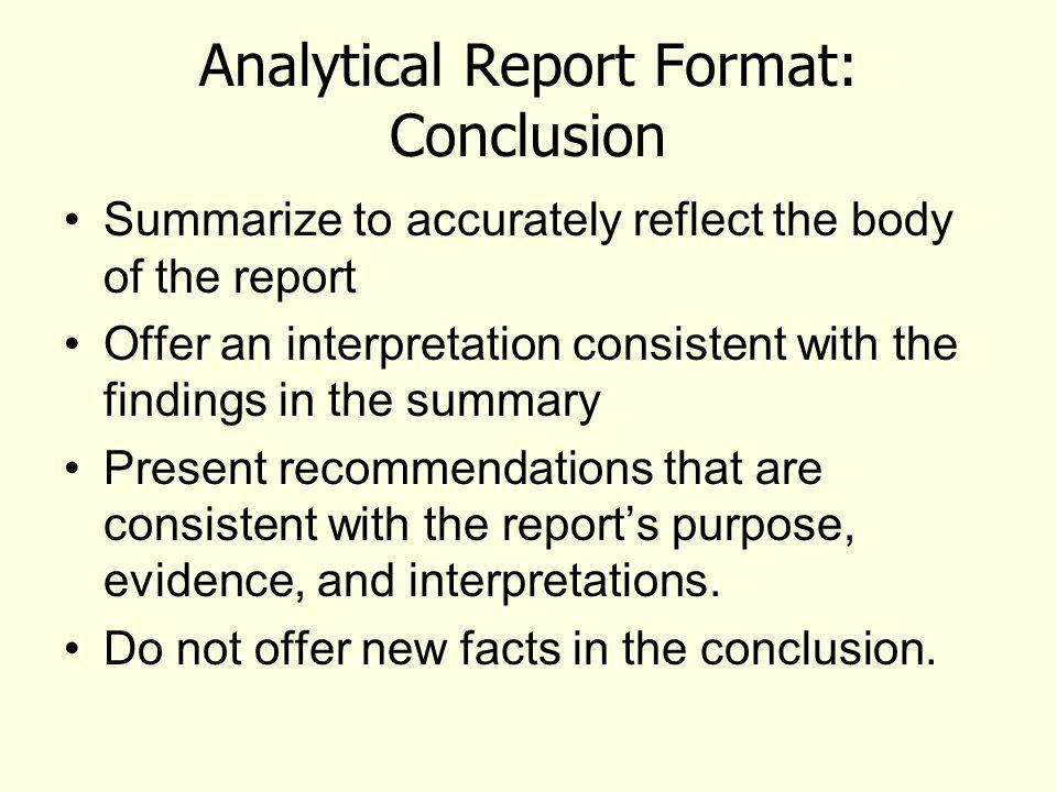 Learning Outcomes from the Analytical Report Unit Understand what ...