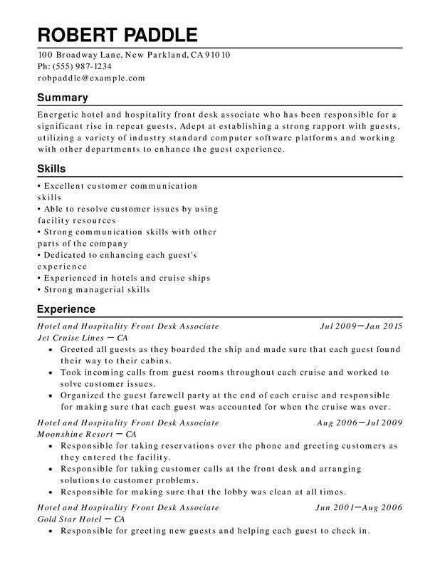 Hotel & Hospitality Chronological Resumes - Resume Help