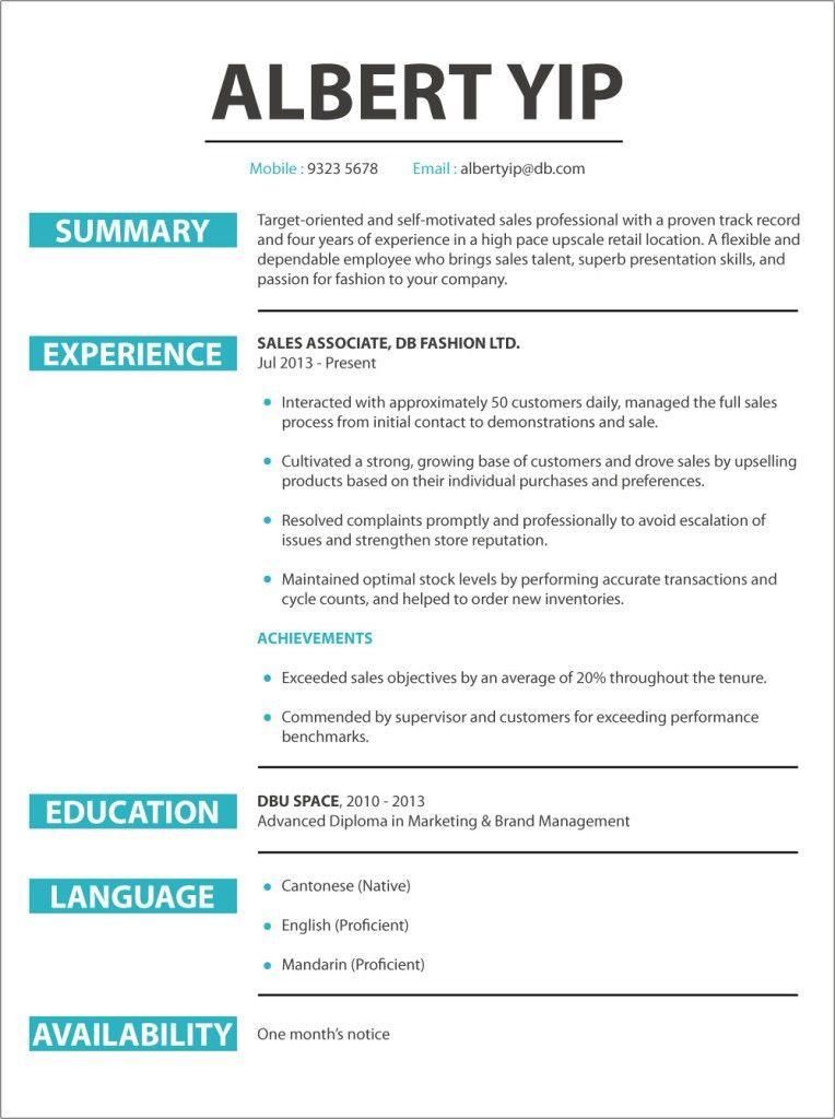 CV sample (Retail Sales) | jobsDB Hong Kong