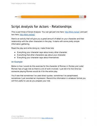 50 best Theatre- Script/Character Analysis images on Pinterest ...