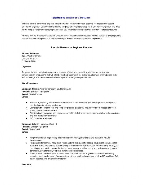 Electronics Engineering Resume Samples