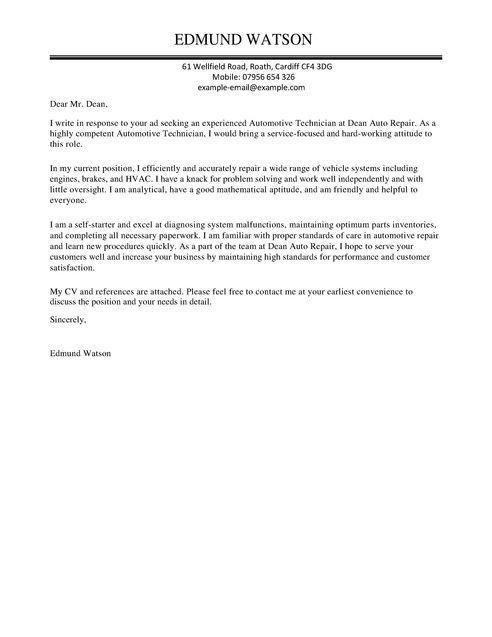 Automotive Technician Cover Letter Examples for Automotive ...
