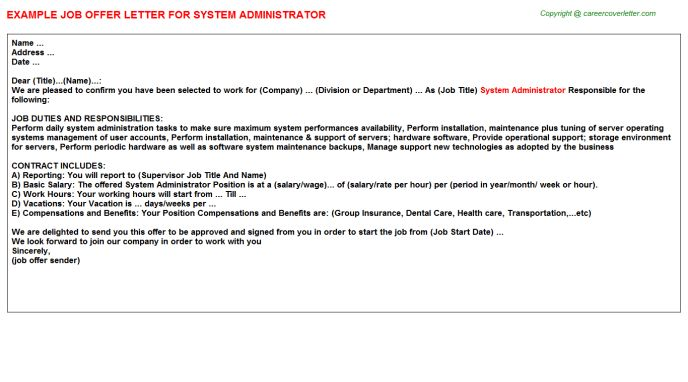 System Administrator Offer Letters