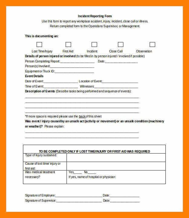 First Aid Incident Report Template - cv01.billybullock.us