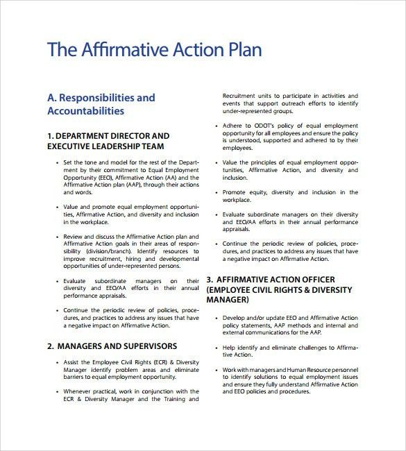 Recruitment Plan Template. Affirmative Action Plan Example Sample ...