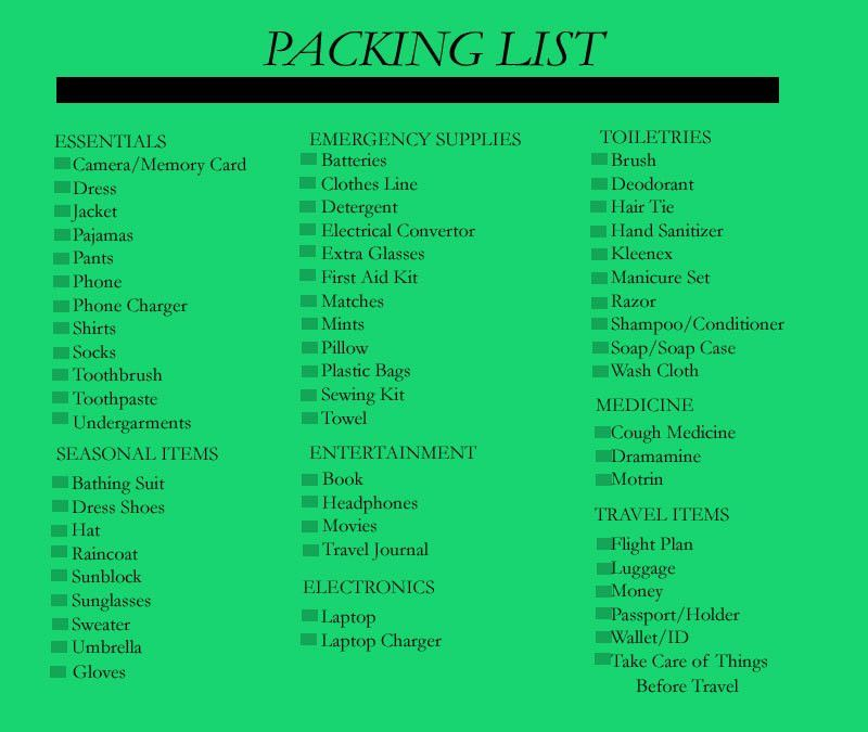 Always Be Prepared: 10 Tips To Making The Ultimate Packing List