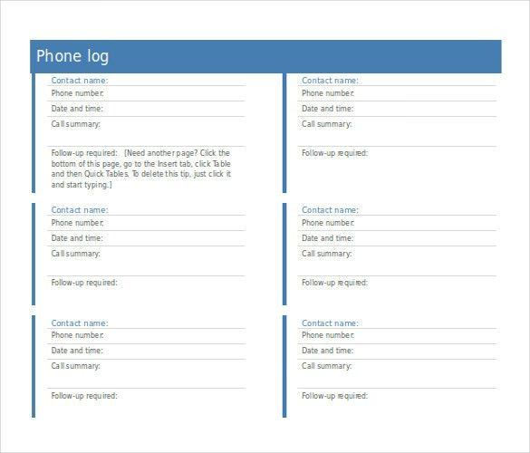 Phone Log Template. Employee Log Sheet 9+ Log Sheet Templates ...