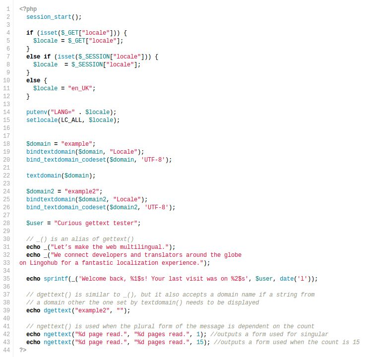 PHP internationalization with gettext tutorial - LingoHub ...