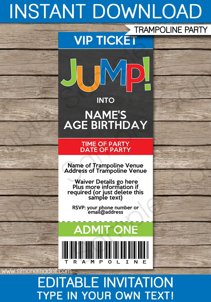 Trampoline Party Ticket Invitations Template – boys | Trampoline ...