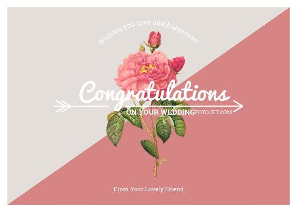 Rose Wedding Congratulation Card Template Template | FotoJet