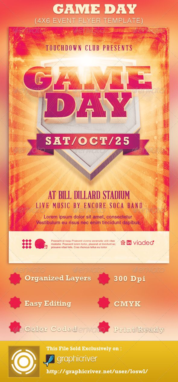 Game Day Event Flyer Template by loswl | GraphicRiver