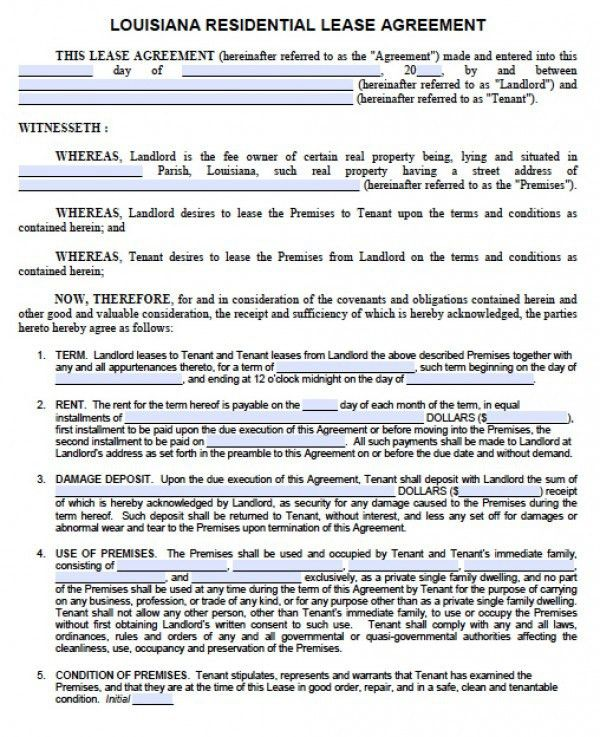 Free Louisiana 1 Year Residential Lease Agreement | Standard ...