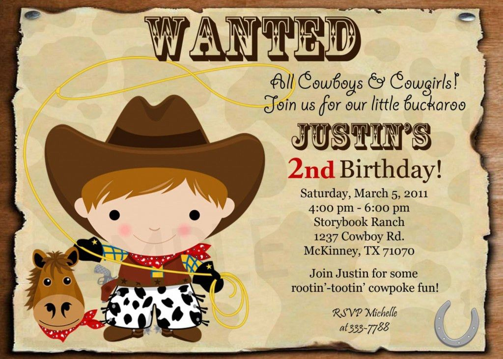 Cowboy Birthday Invitation Ideas – Bagvania FREE Printable ...