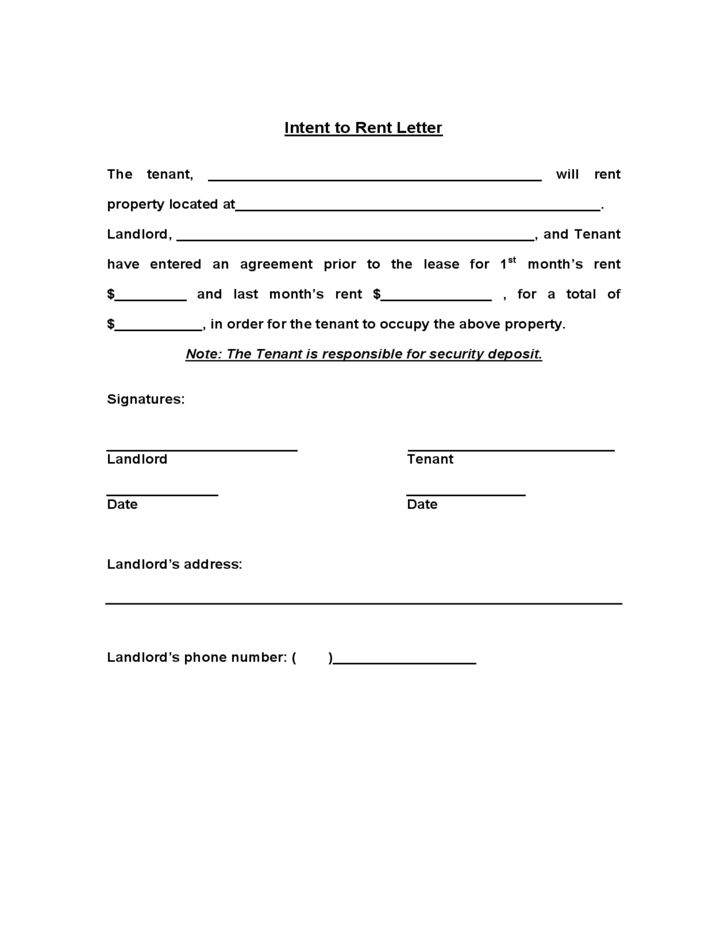 Intent To Rent Template Free Download