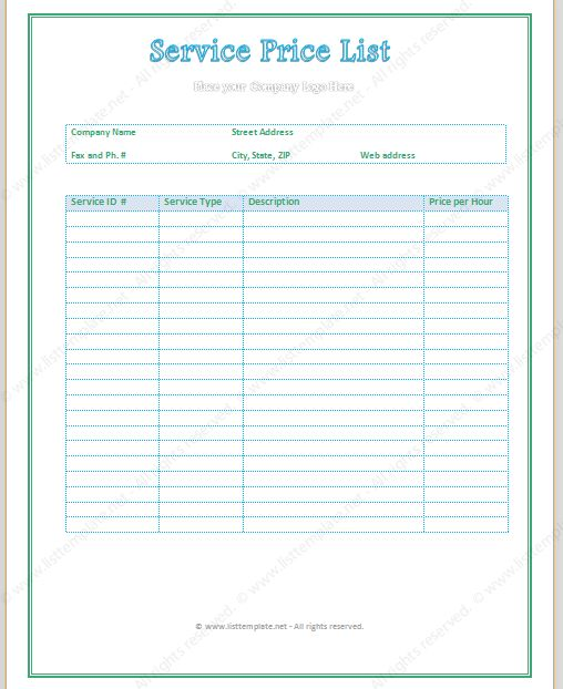 Service Price List Template (Light Format) - List Templates