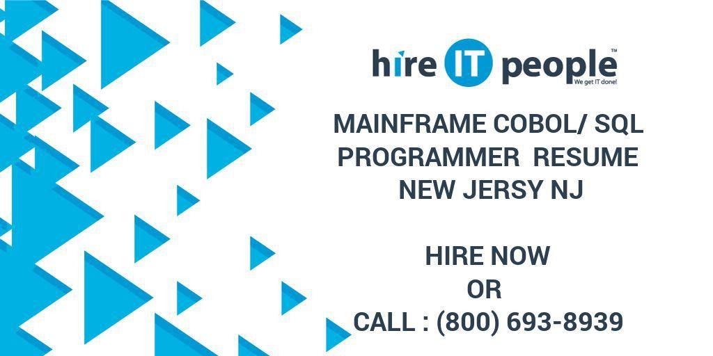 Mainframe Cobol/SQL Programmer Resume New Jersy NJ - Hire IT ...