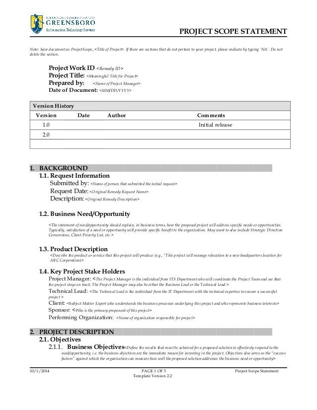 Project Scope Template. Project Management Scope Statement ...