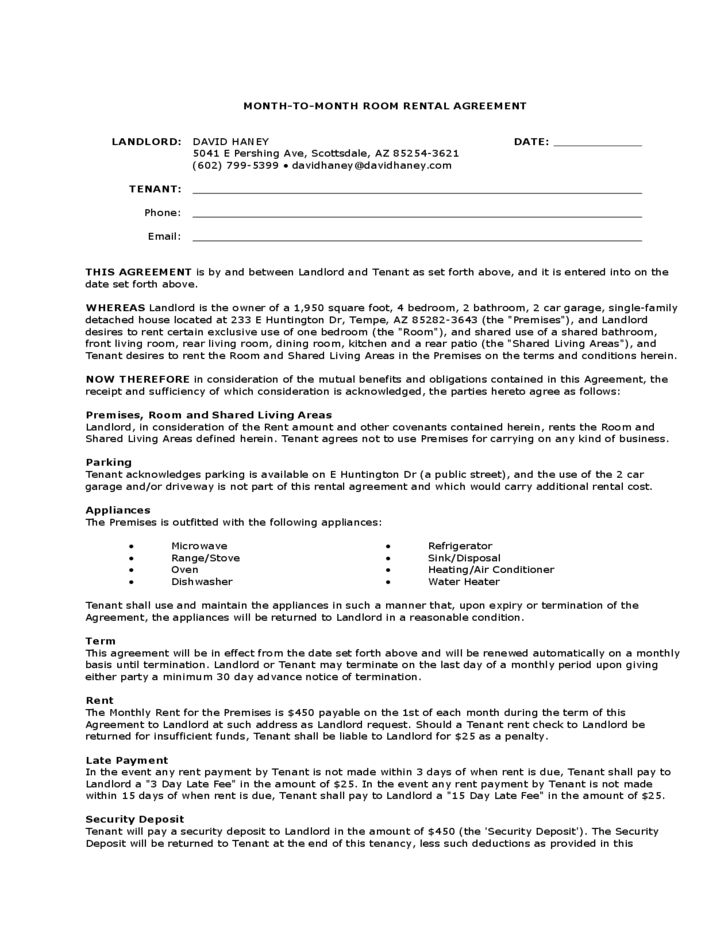 Month-to-Month Room Rental Agreement Landlord Template Free Download