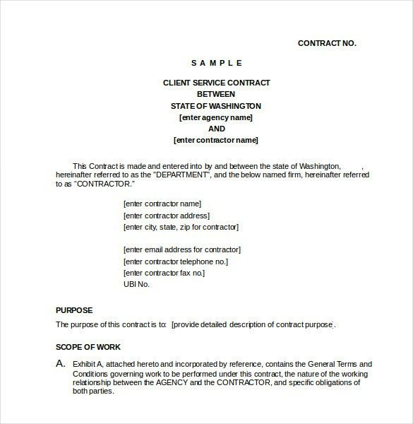 Service Contract In Word. Cleaning Contract Template Free Contract ...