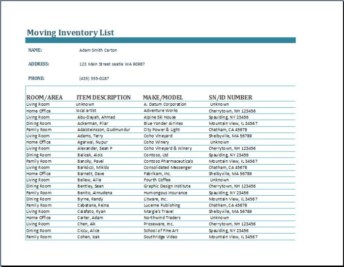 Moving Inventory List Sheet Sample For Word Or Excel Template ...