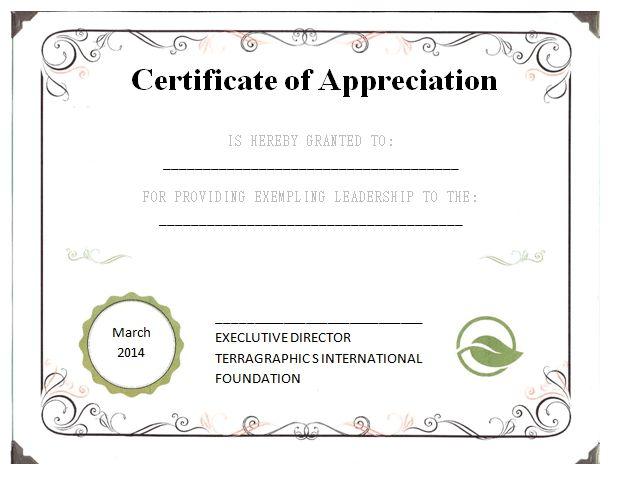 Leadership Certificate of Appreciation Template | Certificate of ...
