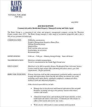 Realtor Job Description. Real Estate Agent Job Description Pdf ...
