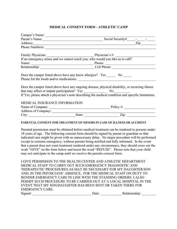 Medical Consent Form - download free documents for PDF, Word and Excel