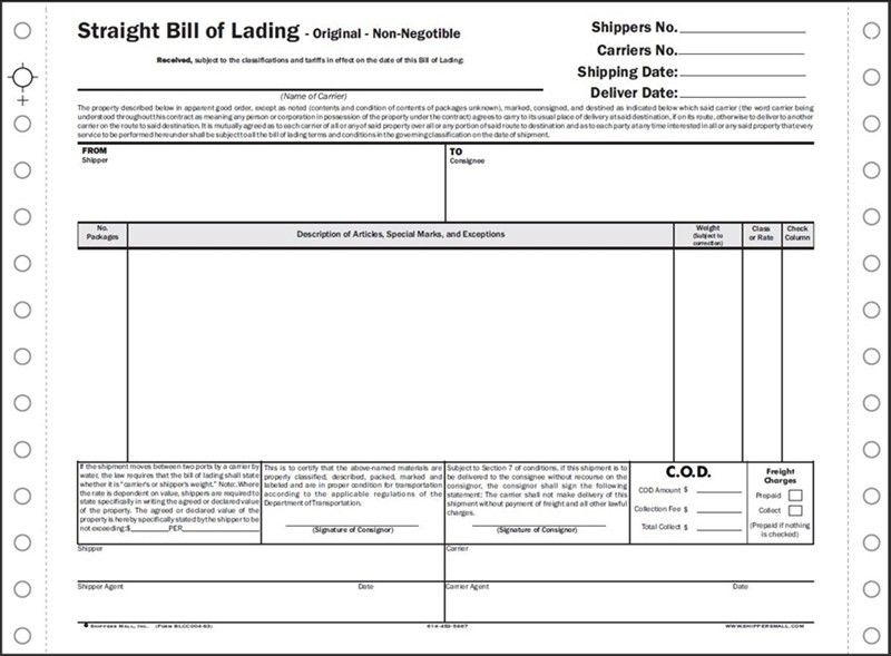 Bill of Lading, custom, 3 ply, Continuous carbonless Short form ...