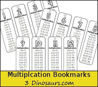 3 Dinosaurs - Multiplication Bookmarks