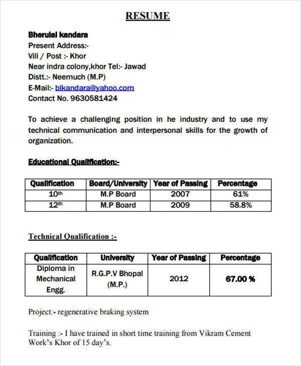 51+ Resume Format Samples