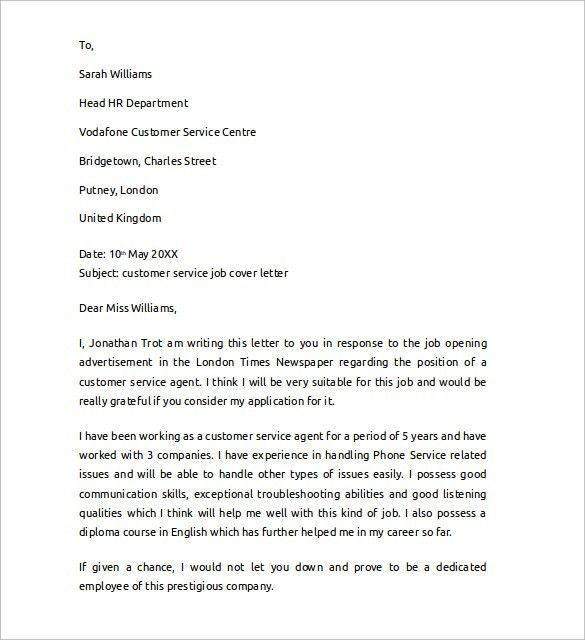 Sample Cover Letter Example for Job - 13 + Download Free Documents ...