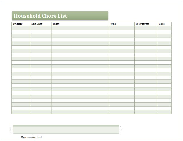 MS Excel Household Chore List Template | Document Templates
