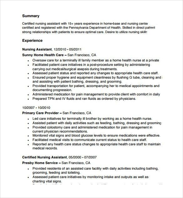 Examples Of Cna Resumes