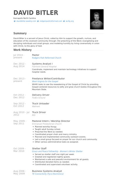 Pastor Resume samples - VisualCV resume samples database
