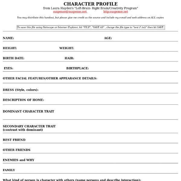 Character Profile Template | cyberuse
