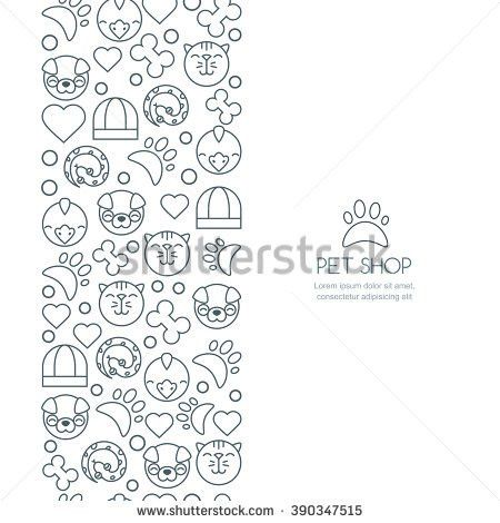 Vector Seamless Vertical Background Outline Icons Stock Vector ...