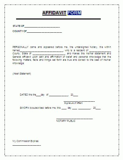 Blank Affidavit Forms.sworn Affidavit Form 1.png - Loan ...