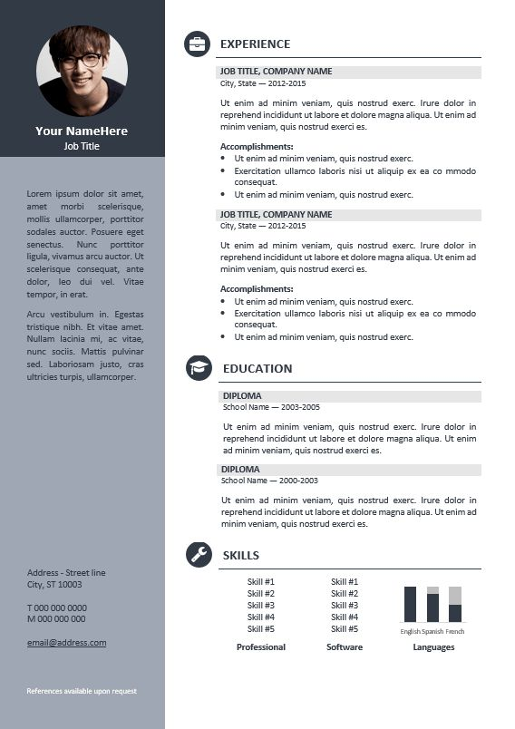 Orienta - Free professional resume CV template - Gray | Resume ...