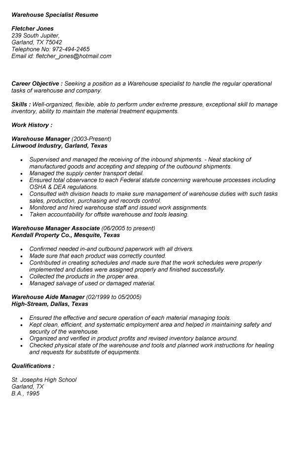 warehouse specialist resume 22 manager 10 sample job resumes - Warehouse Specialist