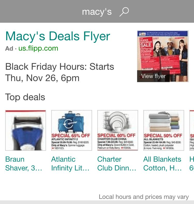 Bing Featuring Black Friday Flyer Ads On Some Retailer Brand Terms