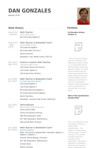 Math Teacher Resume samples - VisualCV resume samples database