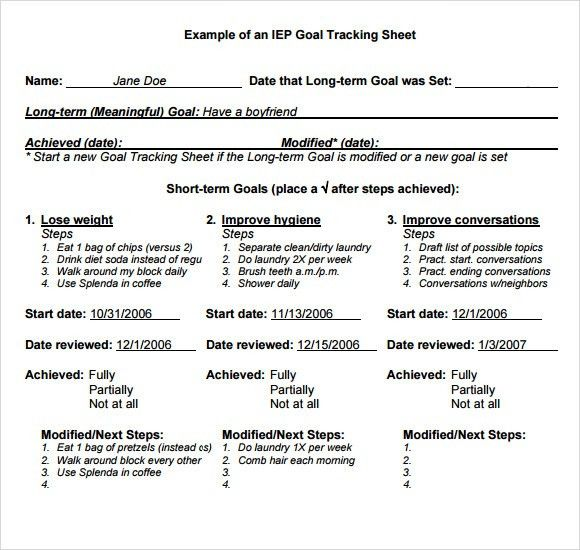 Sample Goal Tracking - 9+ Documents in PDF, Excel