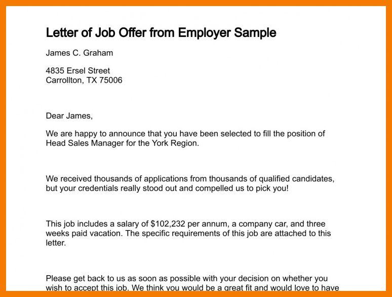 8+ sample of job offer letter | resume holder