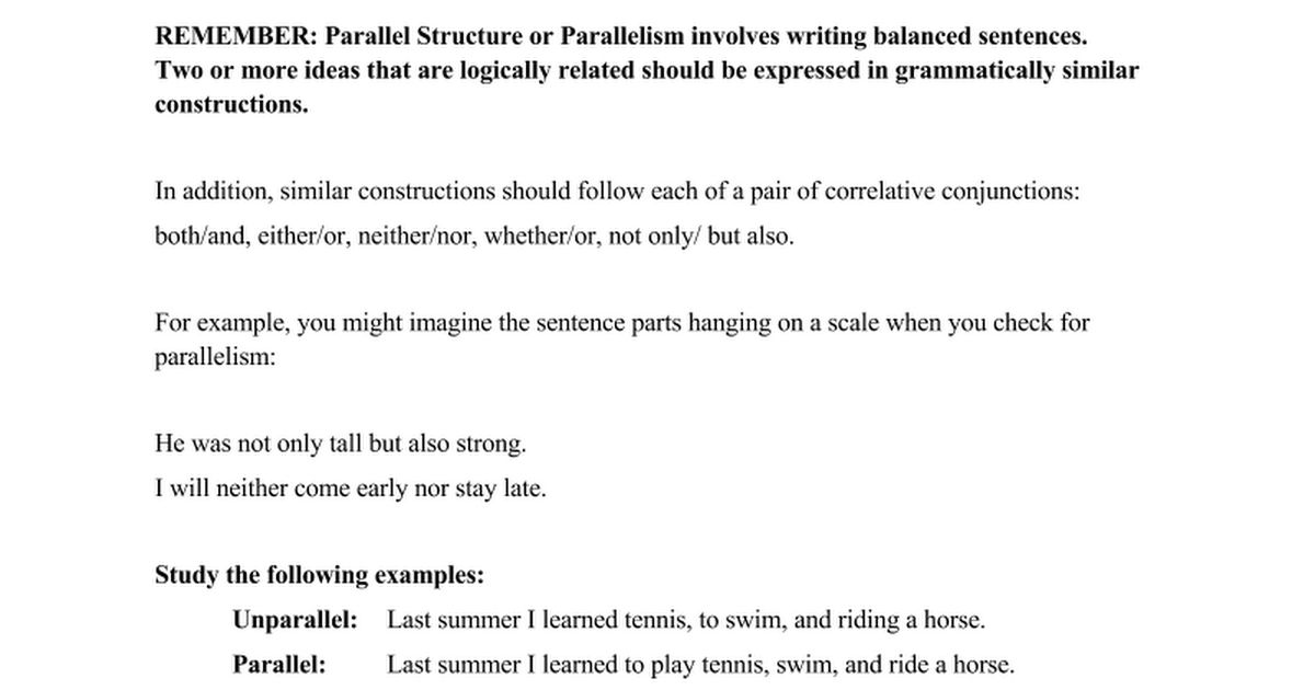 PARALLEL STRUCTURE WORKSHEET #3 - Google Docs