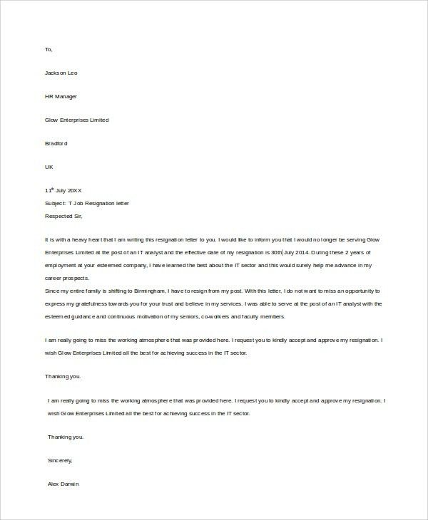 Sample Letter of Resignation - 8+ Examples in Word, PDF