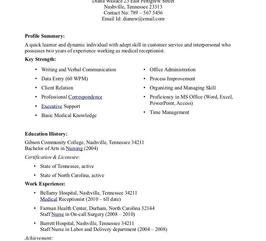 Receptionist Resume Skills - Template Examples