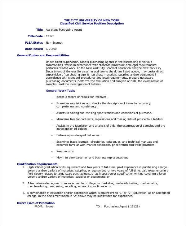 Purchasing Agent Job Description - 9+ Free PDF, Word Documents ...